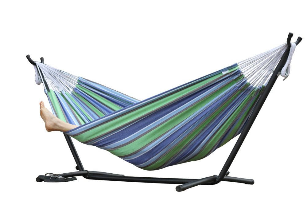 Vivere 8 ft. Double Hammock with Stand in Oasis