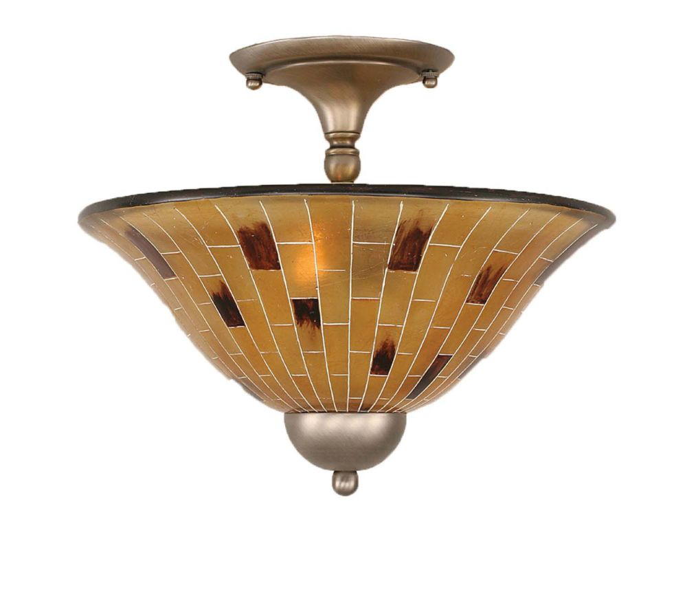 Concord 2-Light Ceiling Brushed Nickel Semi Flush with a Penshell Resin Glass