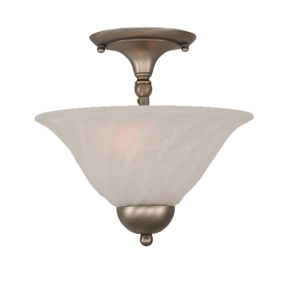 Concord 2-Light Ceiling Brushed Nickel Semi Flush with a Swirl Glass