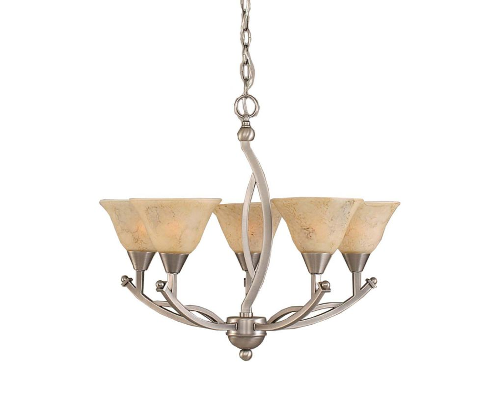Concord 5 Light Ceiling Brushed Nickel Incandescent Chandelier with an Italian Marble Glass