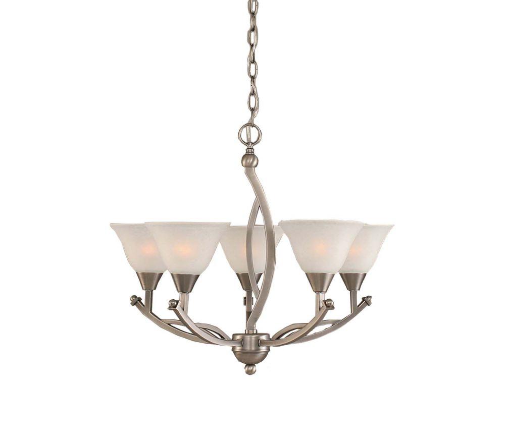Concord plafond à 5 lampes à incandescence brossé Lustre Nickel avec un verre de marbre blanc