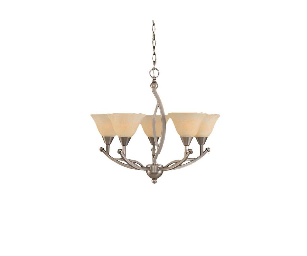 Filament Design Concord 5-Light Ceiling Brushed Nickel Chandelier with an Amber Glass