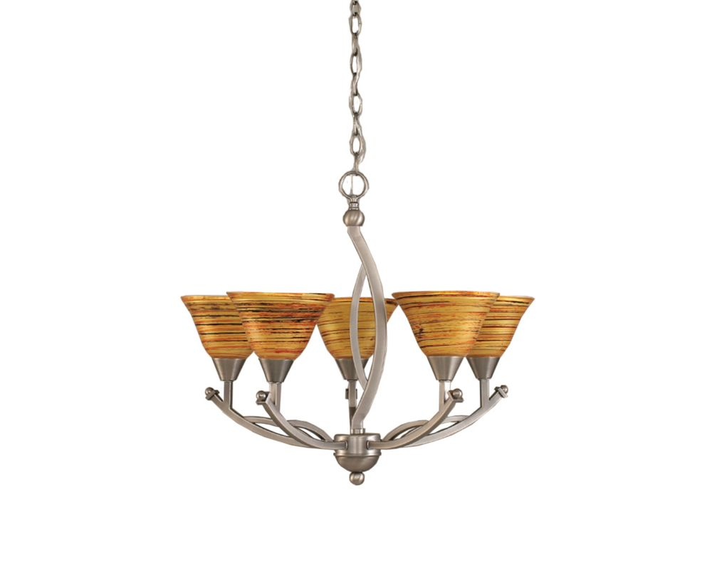 Concord 5-Light Ceiling Brushed Nickel Chandelier with a Firré Saturn Glass