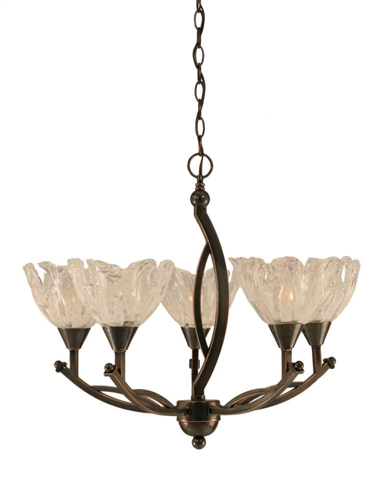 Concord 5 Light Ceiling Black Copper Incandescent Chandelier with a Clear Crystal Glass