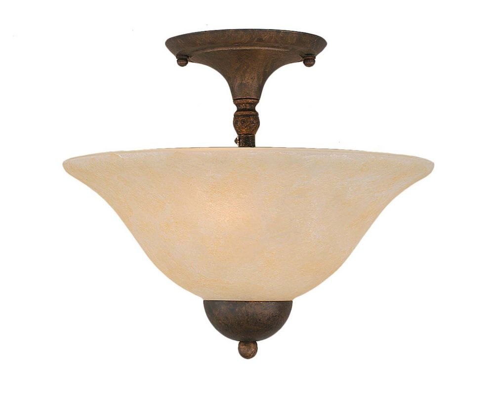 Concord 2 Light Ceiling Bronze Incandescent Semi Flush with an Amber Glass
