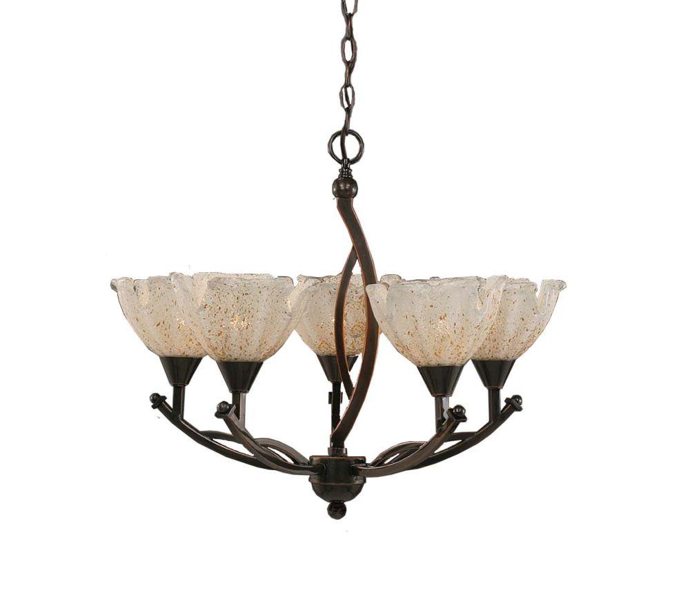 Concord 5 lumières plafond Noir Copper Chandelier à incandescence avec un cristal en verre d'or
