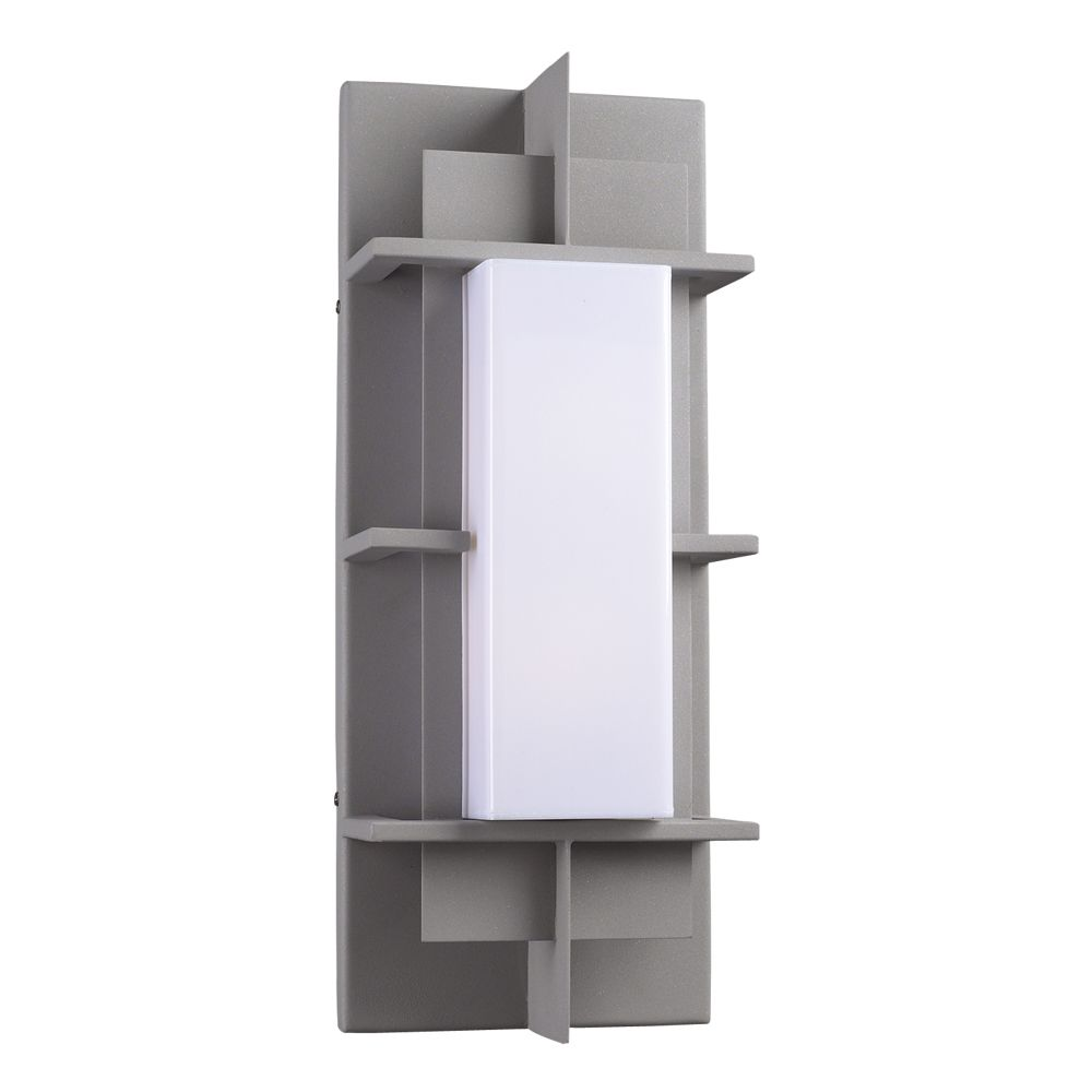 Contemporary Beauty 1 Light Outdoor Wall Sconce with Matte Opal Glass and Slate Finish