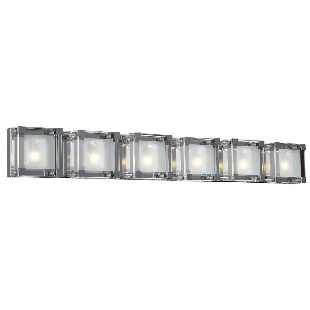 Lumière Contemporary Beauty fixée au mur à six ampoules avec abat-jour clair, finition de spécial...