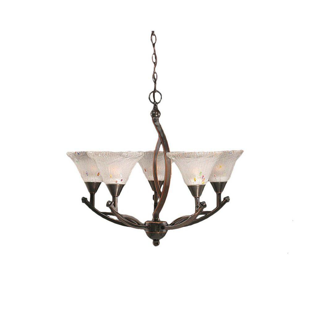 Concord 5 lumières plafond Noir Copper Chandelier incandescence par une Frosted Crystal