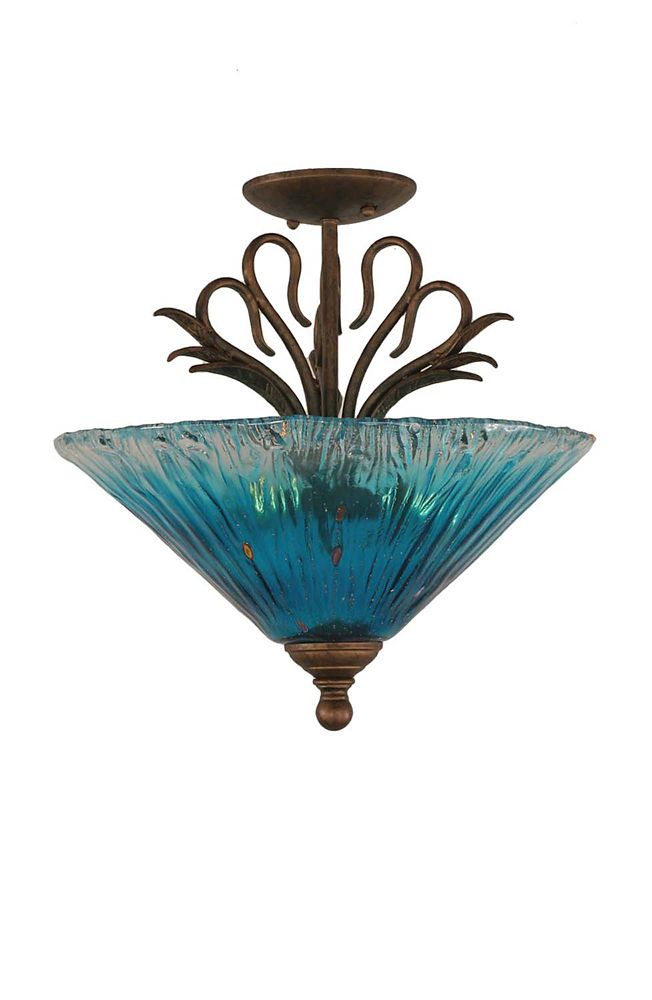 Concord 3 Light Ceiling Bronze Incandescent Semi Flush with a Teal Crystal Glass