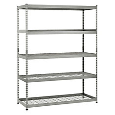 60-inch W x 78-inch H x 24-inch D 5-Shelf Steel Storage Shelving Unit in Silver