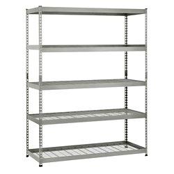 HUSKY 60-inch W x 78-inch H x 24-inch D 5-Shelf Steel Storage Shelving Unit in Silver