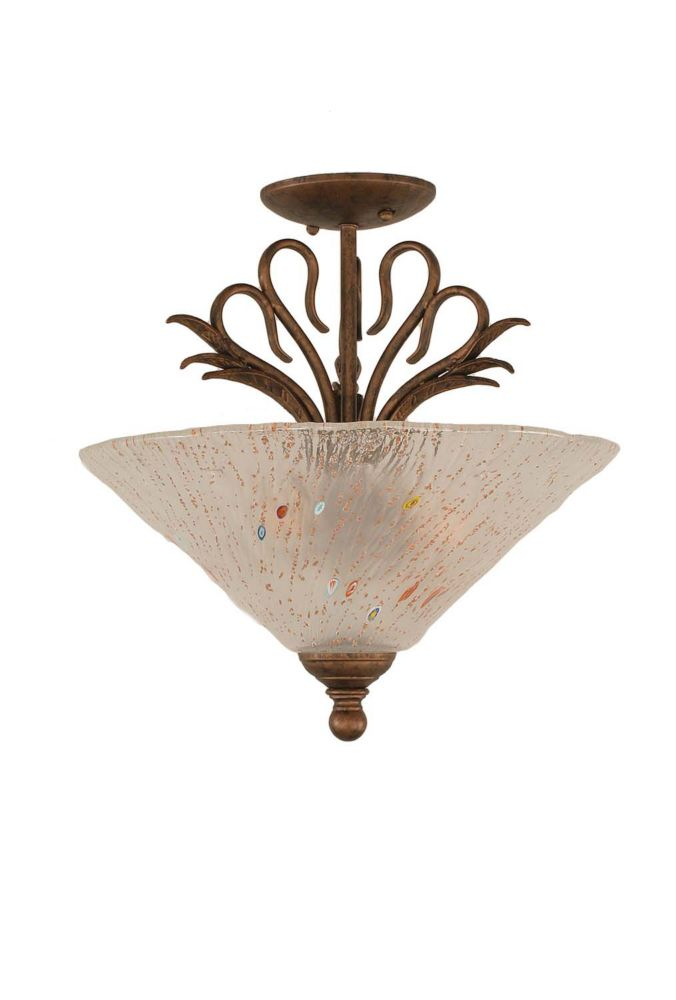 Filament Design Concord 3 Light Ceiling Bronze Incandescent Semi Flush with a Frosted Crystal Glass