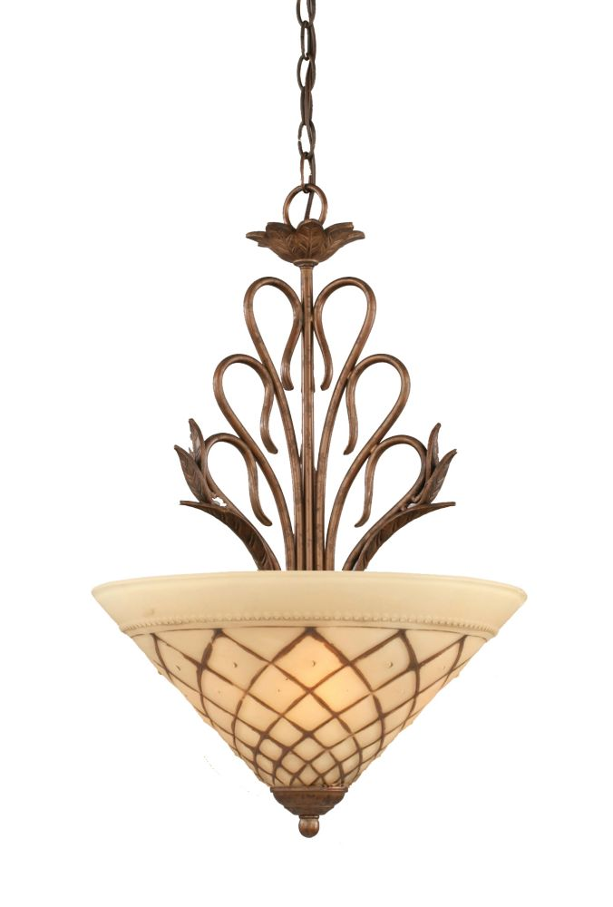 Concord 3-Light Ceiling Bronze Chandelier with a Chocolate Icing Glass