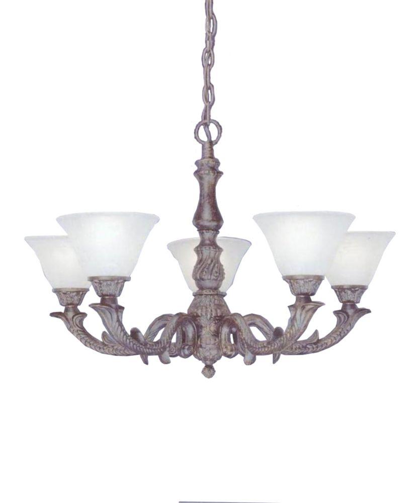 Concord 5 lumières plafond Bronze Lustre à incandescence avec un verre de marbre blanc