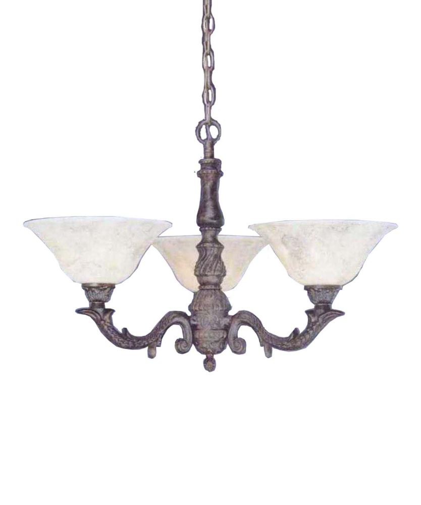 Concord 3 lumières plafond Bronze Lustre incandescence par une Marbre Verre italien
