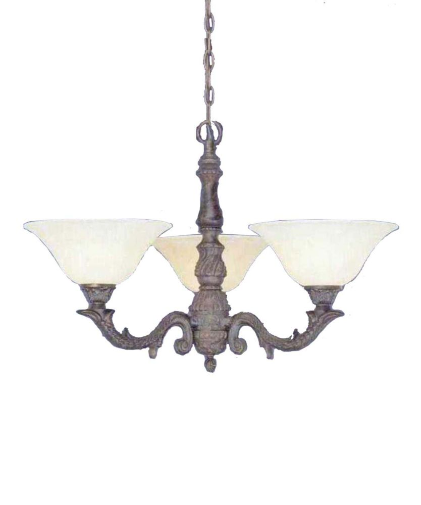 Filament Design Concord 3-Light Ceiling Bronze Chandelier with an Amber Glass