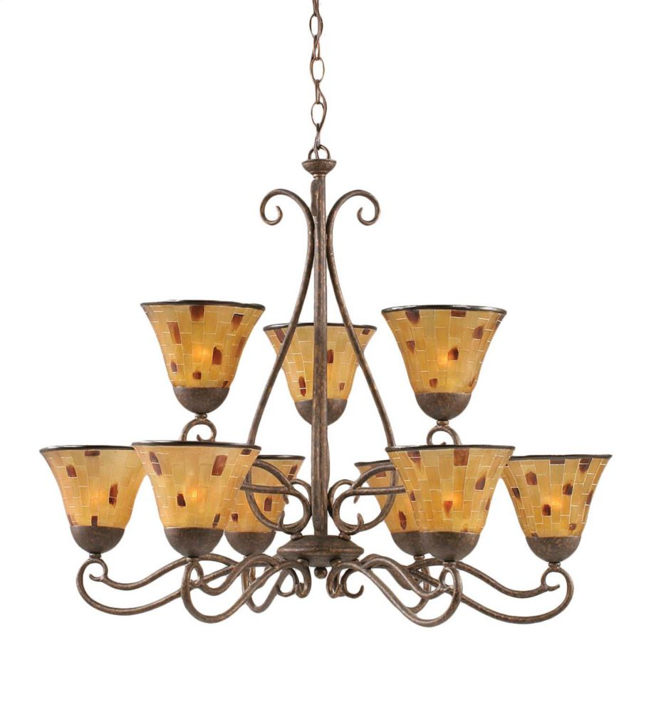 Concord 9 Light Ceiling Bronze Incandescent Chandelier with a Penshell Resin Glass