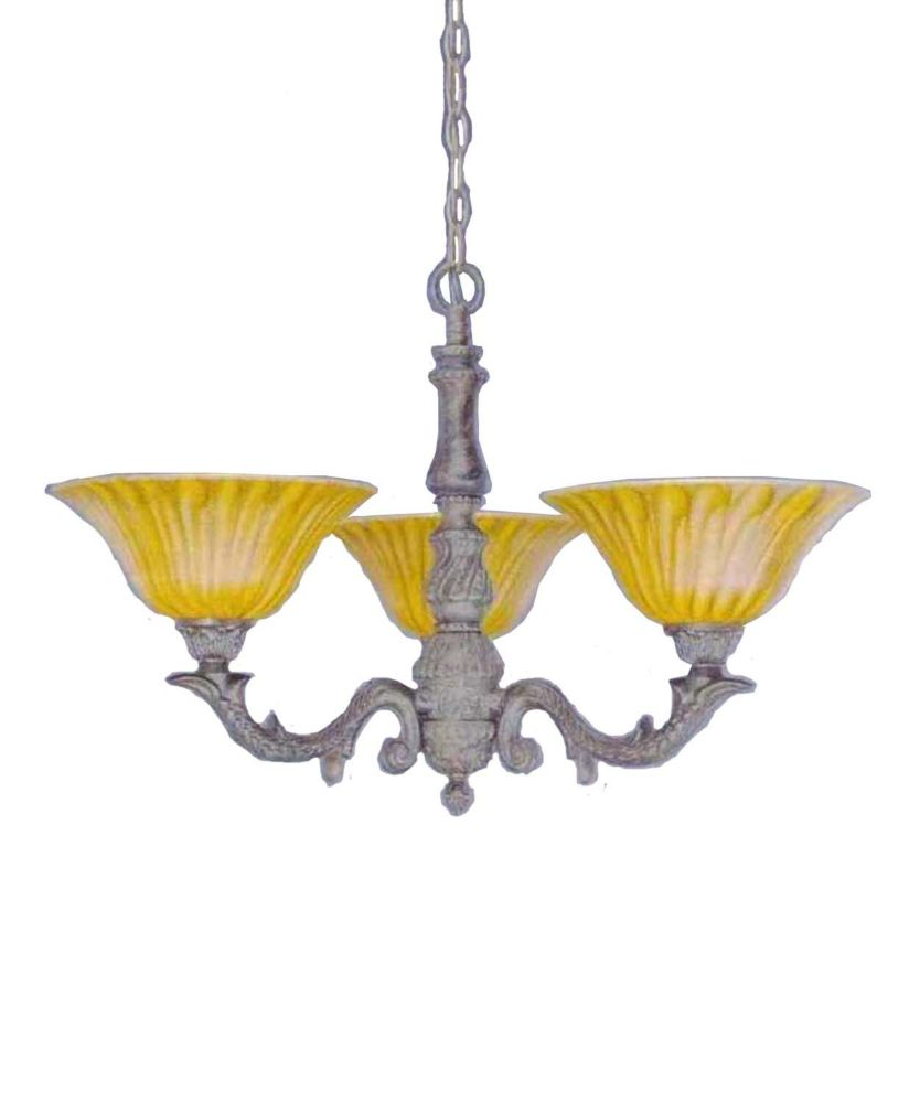 Concord 3 Light Ceiling Bronze Incandescent Chandelier with a Tiger Glass