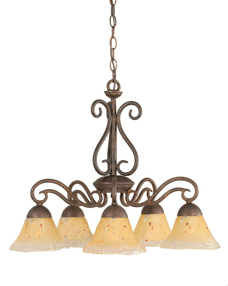 Filament Design Concord 5-Light Ceiling Bronze Chandelier with an Amber Glass