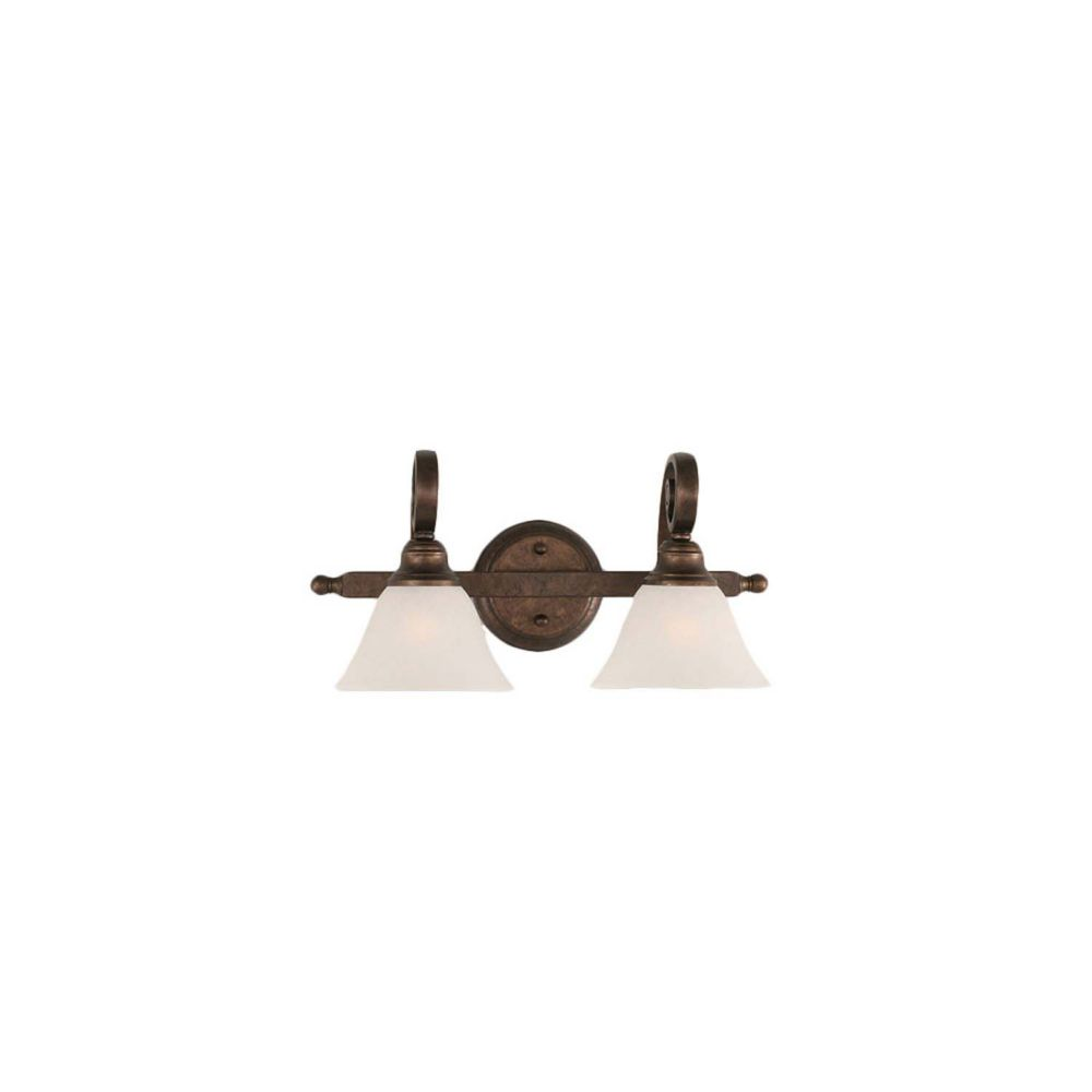 Concord 2 Light Wall Bronze Incandescent Bath Vanities with a White Marble Glass