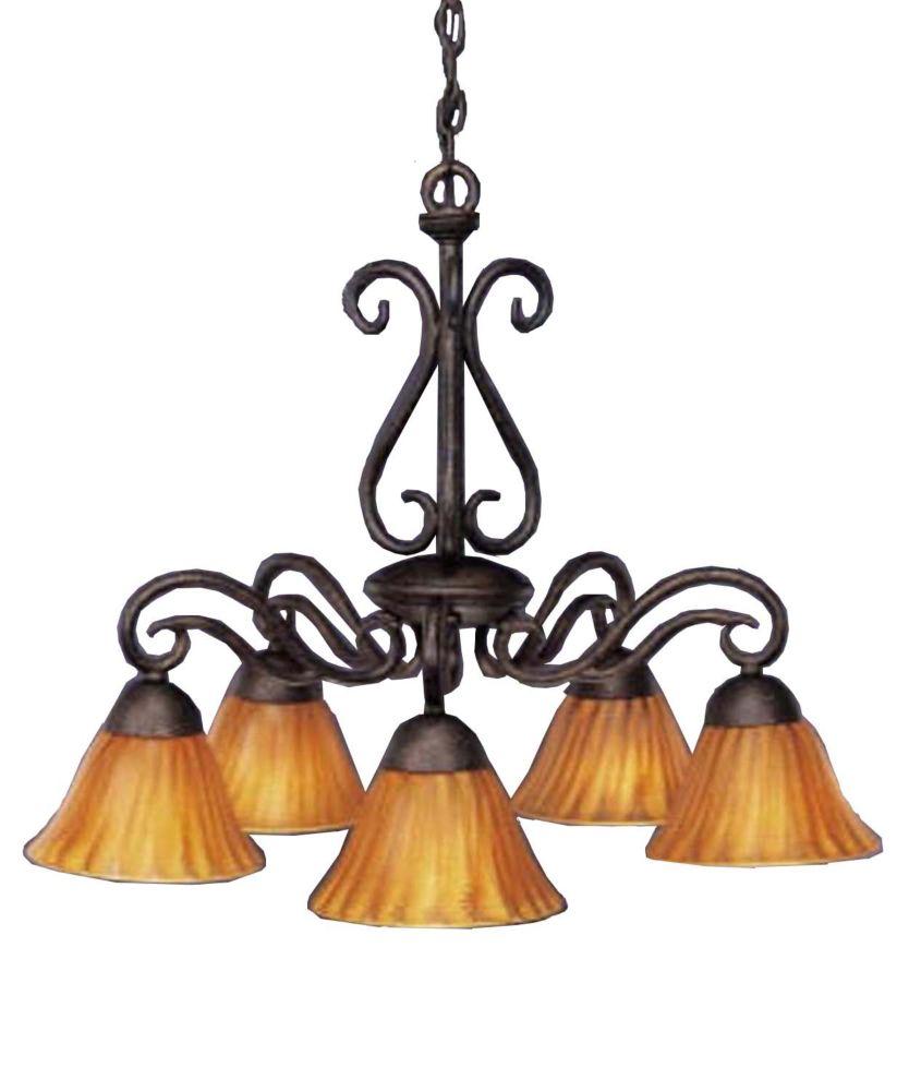 Concord 5 lumières plafond Bronze Lustre incandescence par une Tiger