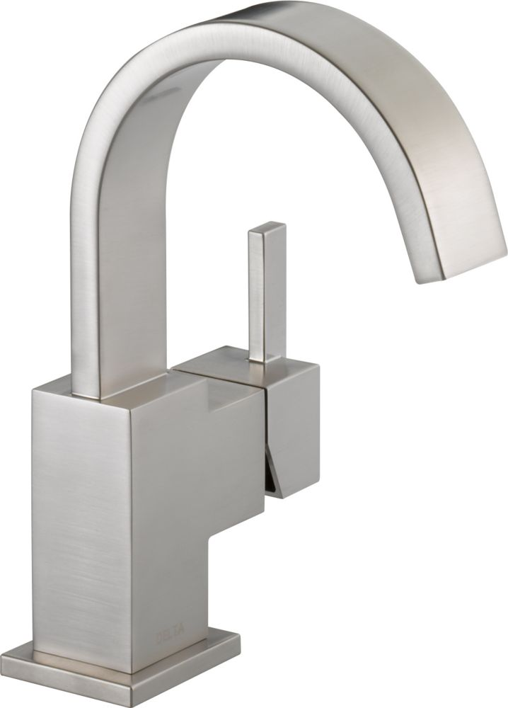 Vero Single Hole Single-Handle High-Arc Bathroom Faucet in Stainless Finish
