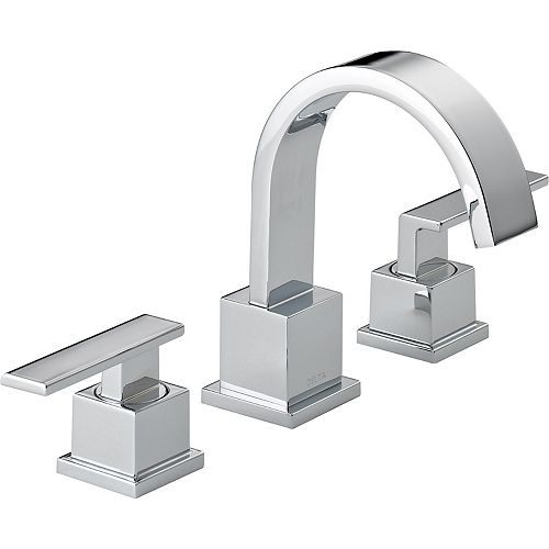 Delta Vero Widespread (8-inch) 2-Handle High Arc Bathroom Faucet in Chrome with Lever Handles