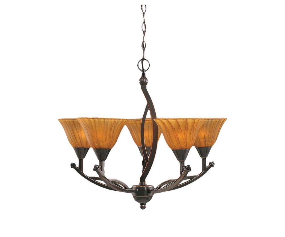 Concord 5 lumières plafond Noir Copper Chandelier à incandescence avec un tigre en verre