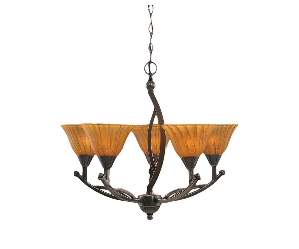 Concord 5-Light Ceiling Black Copper Chandelier with a Tiger Glass