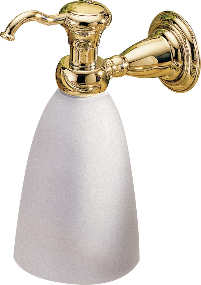 Victorian Wall-Mount Brass and Plastic Soap Dispenser in Polished Brass