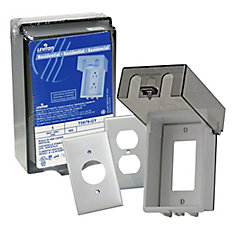 Raintight Telescoping While-In-Use Vertical Cover for Duplex, Decora and Single Receptacles, in Gray