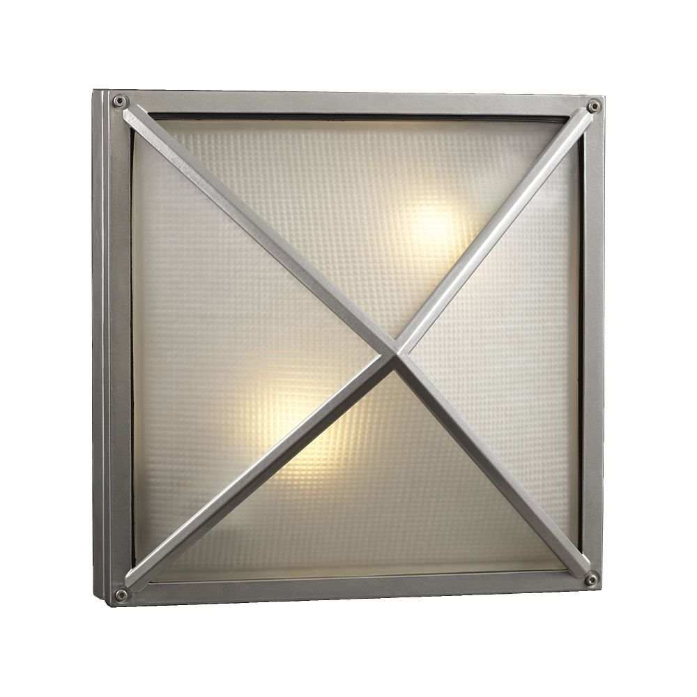 Contemporary Beauty 2 Light Outdoor Wall Sconce with Frost Glass and Slate Finish