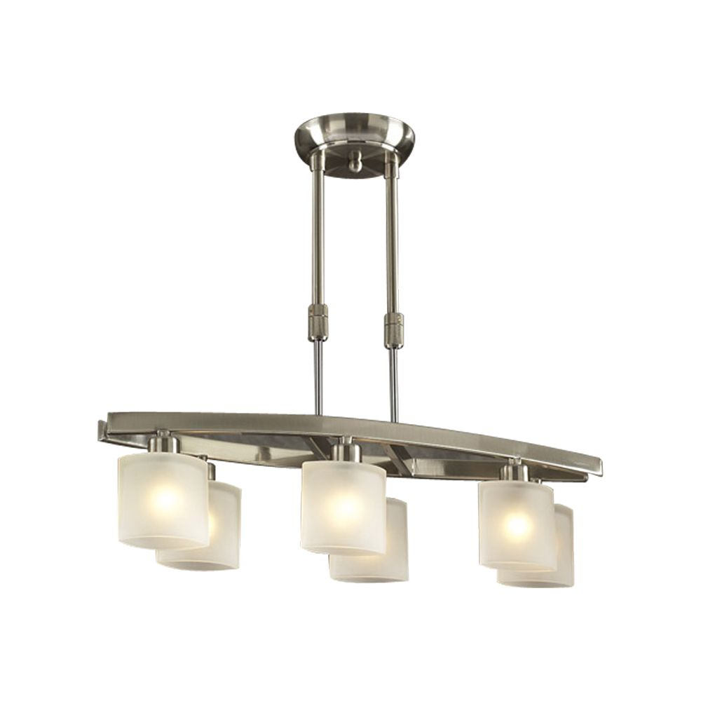 6 Light Pendant with Frost Glass and Satin Nickel Finish