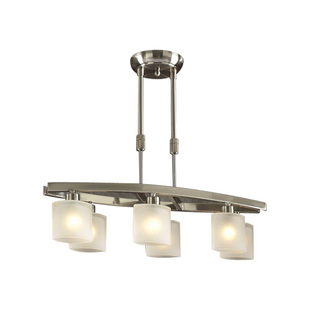 Lustre à six ampoules avec abat-jour givré, finition de spécialité