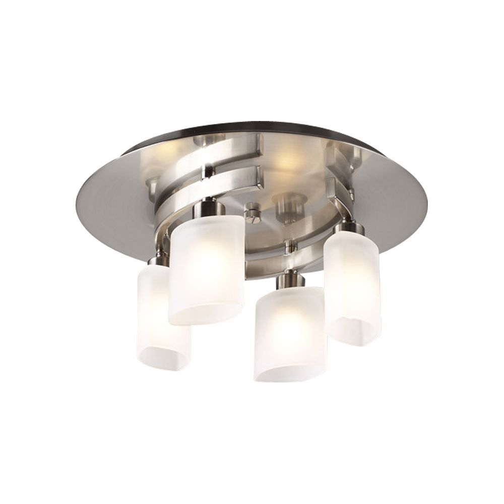 4 Light Flush Mount with Frost Glass and Satin Nickel Finish