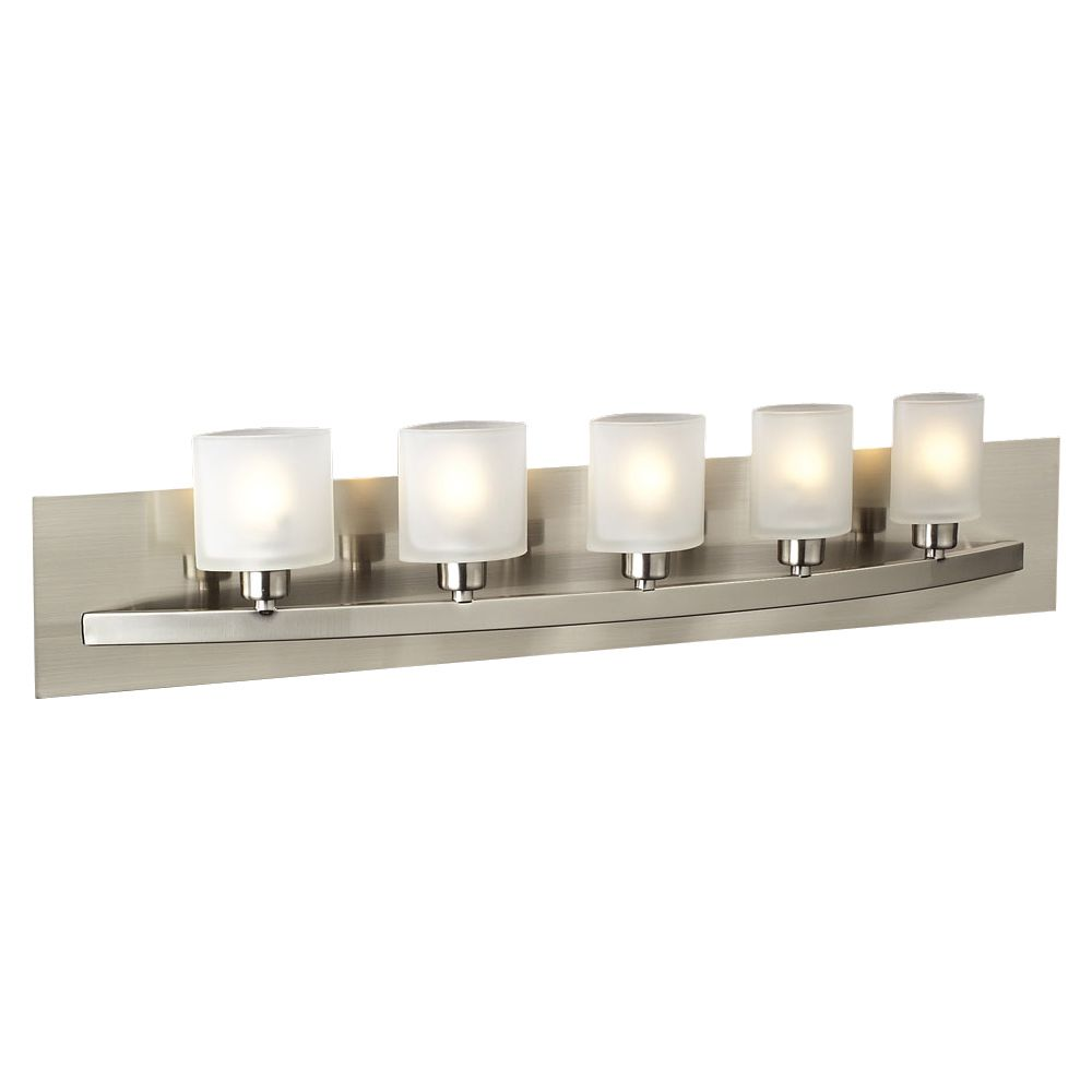 5 Light Bath Light with Frost Glass and Satin Nickel Finish