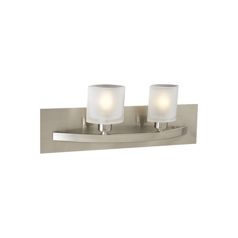 Contemporary Beauty 2 Light Bath Light with Frost Glass and Satin Nickel Finish