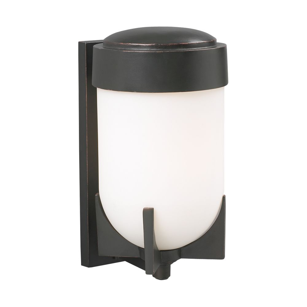 Contemporary Beauty 1 Light Outdoor Wall Sconce with Matte Opal Glass and Oil Rubbed Bronze Finis...