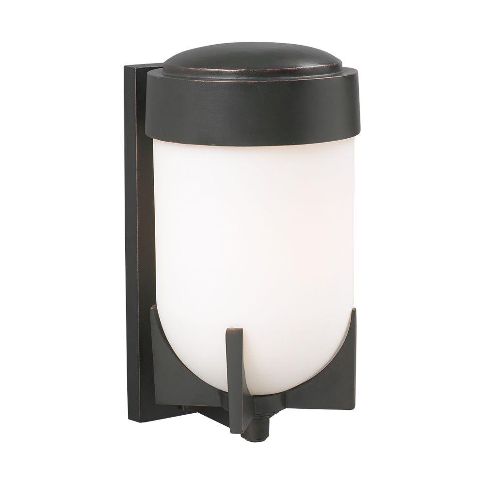 Lumière Contemporary Beauty fixée au mur à une ampoule avec abat-jour de spécialité, Fini bronze