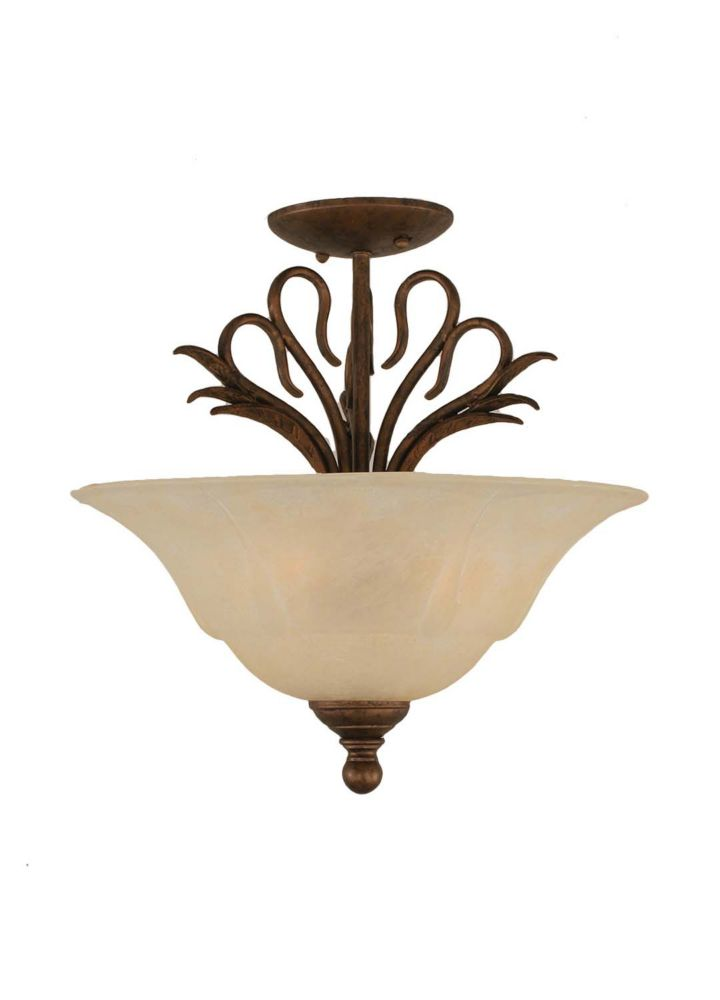 Concord 3 Light Ceiling Bronze Incandescent Semi Flush with an Amber Glass