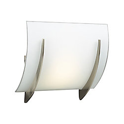 Contemporary Beauty 1 Light Sconce with Matte Opal Glass and Satin Nickel Finish
