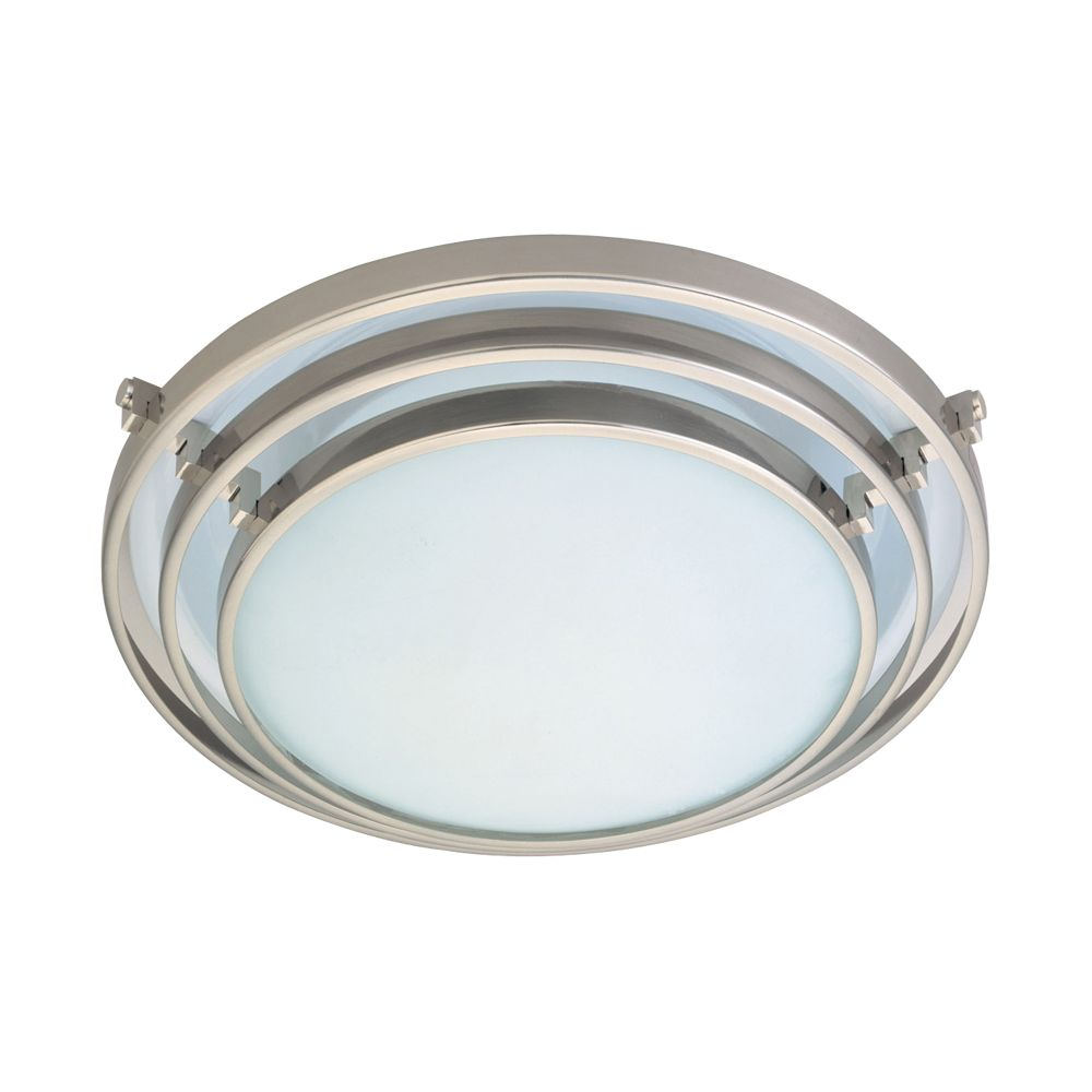 1 Light Flush Mount with Acid Frost Glass and Satin Nickel Finish