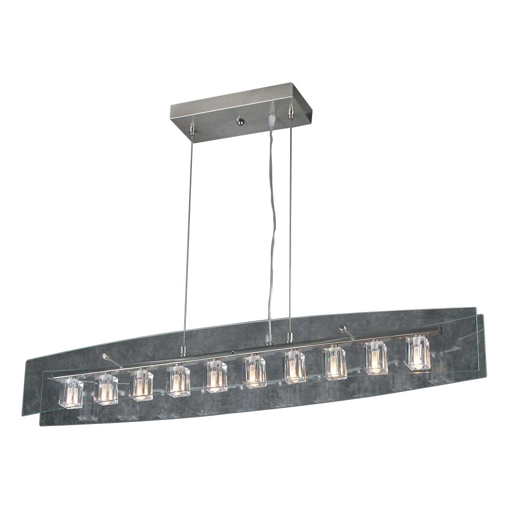 Contemporary Beauty 10 Light Pendant with Clear Glass and Satin Nickel Finish