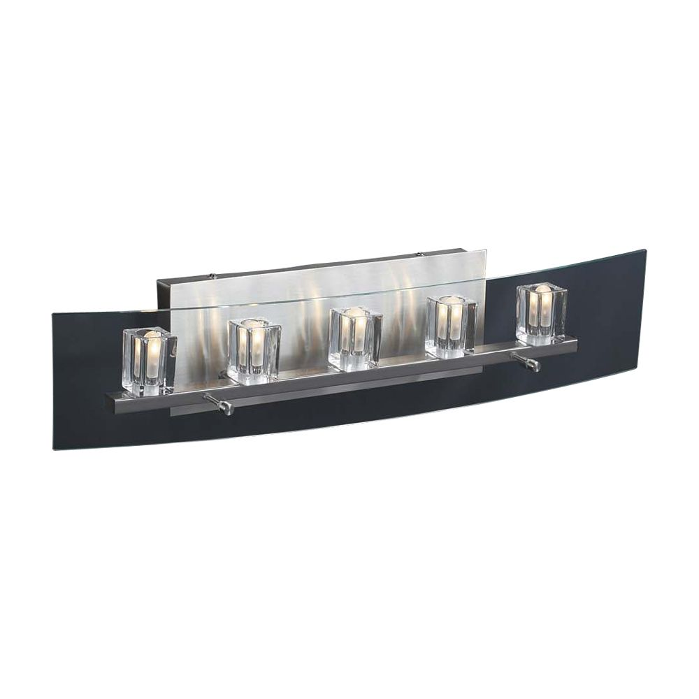 Contemporary Beauty 5 Light Bath Light with Clear Glass and Satin Nickel Finish