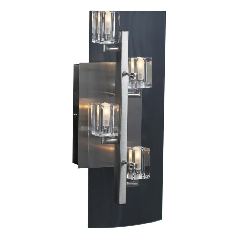 Contemporary Beauty 4 Light Sconce with Clear Glass and Satin Nickel Finish