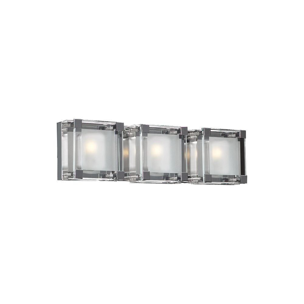 Contemporary Beauty 2 Light Bath Light with Clear Glass and Polished Chorme Finish