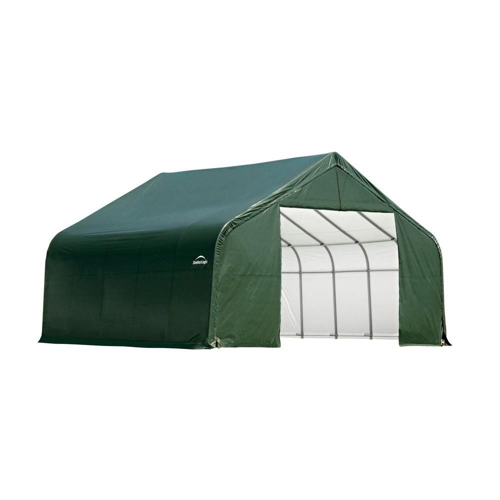 30 ft. x 24 ft. x 16 ft. Peak Style Shelter with Green Cover