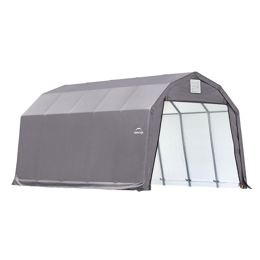 12 ft. x 20 ft. x 11 ft. Barn Style Shelter in Gray