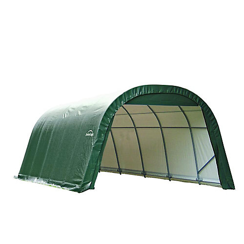 12 ft. x 28 ft. x 8 ft. Round Style Shelter with Green Cover